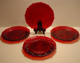 """Avon Ruby Cape Cod 1876 Collection 7"""" Salad Plates (4)"""