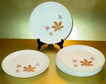 Bread and Butter Plates (7) in Random Leaves by Taylor, Smith & T, Ever Yours