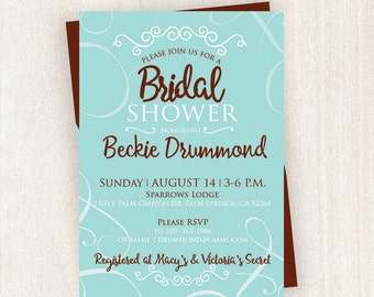 Teal Bridal Shower Invitation  With Professional Printing Services   Bridal Shower Printable   5x7 Custom Bridal Shower Invitation