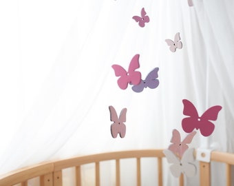 Wooden baby Mobile butterfly, Nursery Mobile, Woodland Mobile, Baby Mobile,  butterfly nursery
