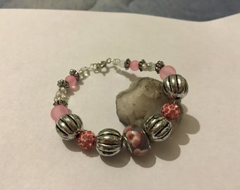 Bracelet Pink and Silver Beads