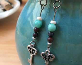 Silver Key and Turquoise Glass Bead Earrings