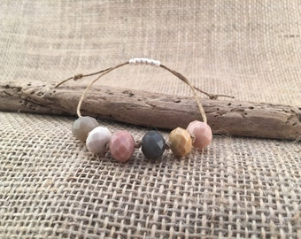 Dusty Rose and Grey Adjustable 1 Piece Bracelet