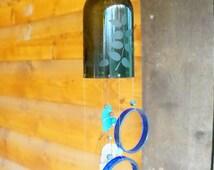 Upcycled wine bottle wind chime