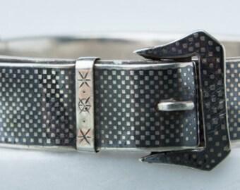 Victorian Niello Silver Buckle Bracelet