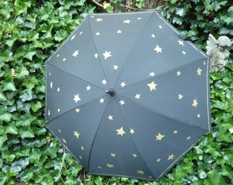 The Stars and the Moon Umbrella for Day or Evening Designed by Stormy Weather Umbrellas NYC [The Shop Owners]