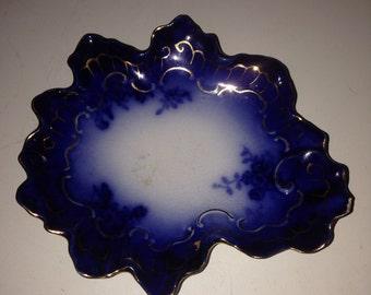 Wheeler pottery antique La belle china cobalt blue dish 24kt gold trimmed