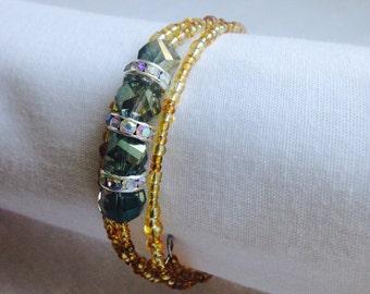 Glitzy Goldenrod Triple Coil Bracelet