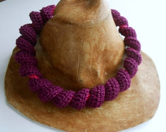 Purple Crochet tube and twist necklace