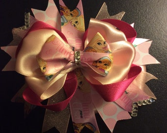Frozen 6in stacked over the top hair bows with alagator clips or barrettes.