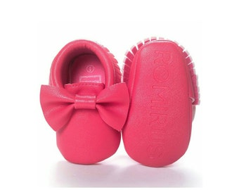 Red Infant Bow Moccasins