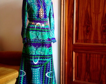 Unique collectible Emilio Pucci suit 3 pieces: blouse, maxi skirt and hand bag from 1960