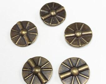 ANTIQUE BRASS DISC Beads 15mm