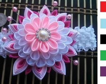 Super Elegant Kanzashi flower Headbands. 6 colors to choose from. High quality handmade.