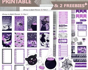Halloween Night Happy Planner weekly kit, Printable weekly Kit, happy planner Halloween sticker,November Autumn  sticker kit