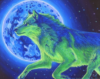 Dream Walker- Wolf Spirit Guide- Giclee, Print, Original Art 13.5 x 9.5""