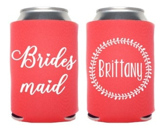12+ Bridesmaid Wedding Can Cooler, Bachelorette Beverage Insulator, Personalized Wedding Favors, Bach Party Can Holders, Bottle Insulator
