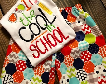 I Put Cool in School Boys Applique Tee and Shorts Set Back to School