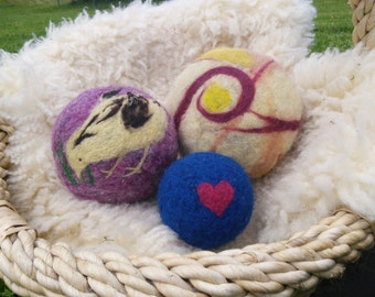 Personalised felted wool balls