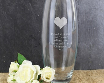 Personalised Heart Vase with your own words