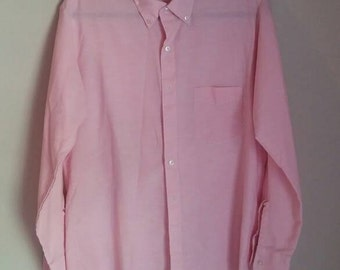 Vintage HUTSPAH Men's Pink Chambray Button Front Shirt Size Large