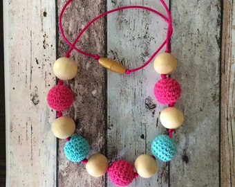 Cotton Candy - Link N' Wear || adult size || teething necklace || nursing neclace || crochet over wood beads