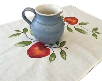 Apple tea towel, linen/ cotton,  hand painted