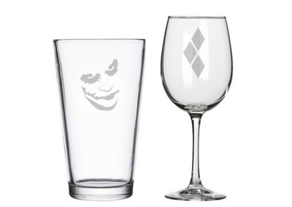 Joker and Harley Quinn his and hers glasses, The Dark Knight, Joker, geeky nerdy wedding gifts, pint or wine glasses, comic books DC