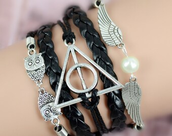 Harry Potter - Golden Snitch Owl, Deathly Hallows Bracelet