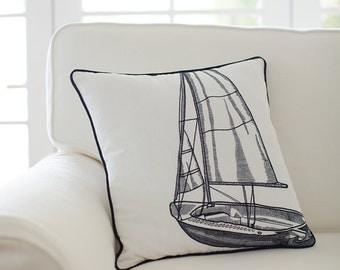 Sailboat Cushion Cover - Ink Navy