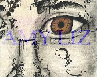 Small 8x8 Acrylic Painting: Left Eye
