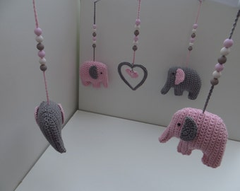 Music mobile elephant pink/grey
