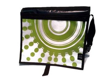 Handbag shoulder large lime green and white