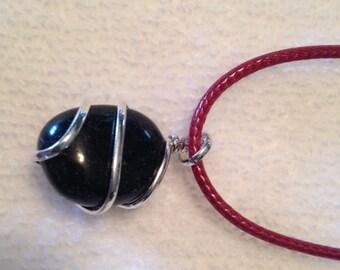 Black Agate Nugget Pendant Necklace