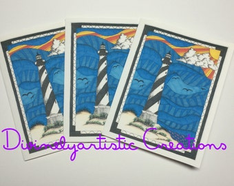 Cape Hatteras Lighthouse Note cards Mixed Media Version 1
