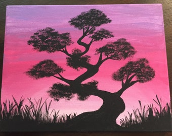 Tree in a pink sunset