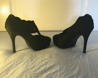 Women s black suede high heels