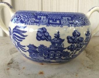 Vintage blue willow sugar bowl