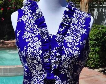 1960s Vintage Blue and White Barkcloth Hawaiian Maxi Dress Sz 14