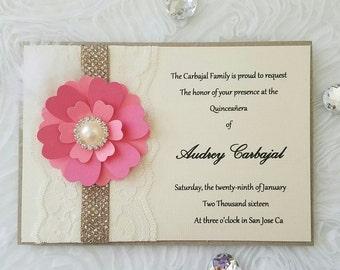 Vintage Invitation/wedding/sweetsixteen/quinceañeras/xv años