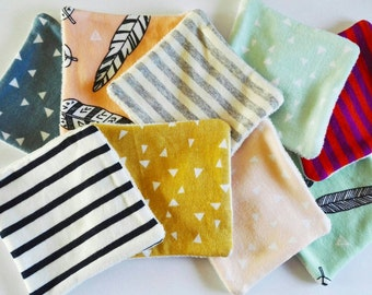 Lot of 5 organic cotton reusable 9x9cm, for makeup or washing baby