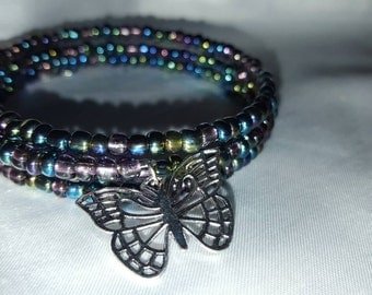 Multicolored memory wire beaded bracelet with butterfly charm