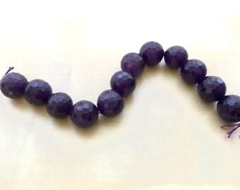 12 x faceted amethyst gem stones 14mm