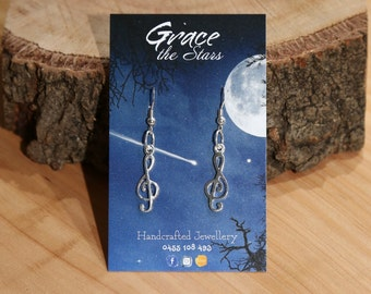 Genuine 925 Sterling Silver Music Treble Clef Earrings