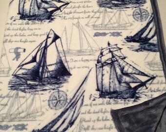 Blue sailboat blanket