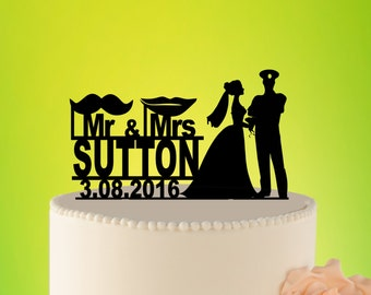 Wedding Cake Topper Sailor, Sailor Wedding Decor, Military Wedding, Army Cake Topper, Mr and Mrs Sailor, Acrylic Custom topper L2-01-022