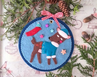 Wall banner Reindeer motivational poster Christmas Reindeer ornament Holly  Rudolph the red nosed reindeer Felt ornament Tree decoration