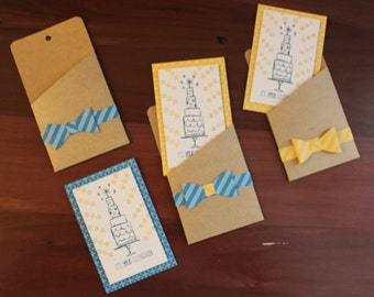 Three gift card holders/cards to attach to gift bags
