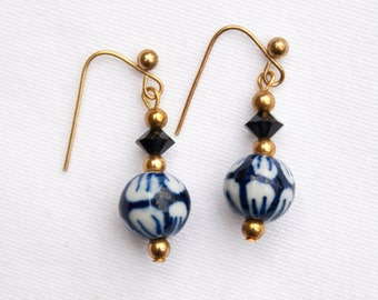 Earrings with Hand-Painted Chinese Beads