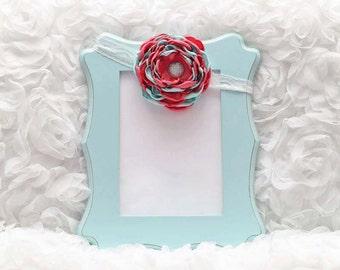 Coral/Mint Satin Flower Headband, Flower Headband, Satin Flower, Hair Accessory, Baby/Girl Flower Headband, Ready to Ship